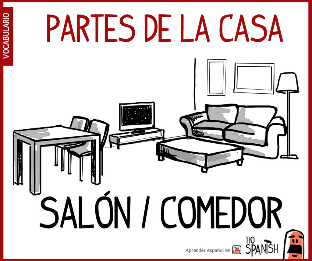 salon comedor, las partes de la casa en español, parts house spanish vocabulary